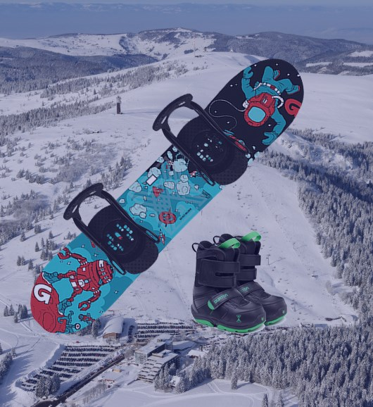 Kids snowboard set